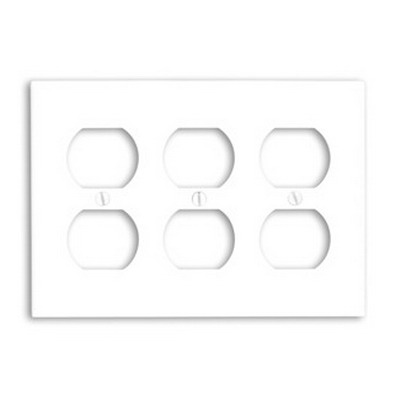 Leviton 88030 3-Gang Standard-Size Duplex Receptacle Wallplate; Device Mount, Thermoset Plastic, White