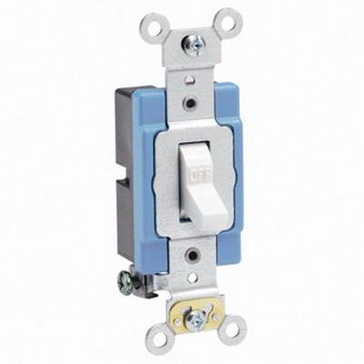 Leviton 1201-2W Extra Heavy Duty Grade AC Quiet Toggle Switch; 1-Pole, 120/277 Volt AC, 15 Amp, White