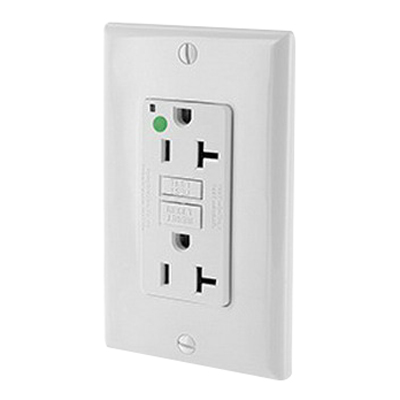Leviton N7899-HGW SmartlockPro® Slimline Double Pole GFCI Receptacle; Wall Mount, 125 Volt, 20 Amp, White