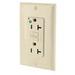 Leviton N7899-HGI SmartlockPro® Slimline Double Pole GFCI Receptacle; Wall Mount, 125 Volt, 20 Amp, Ivory