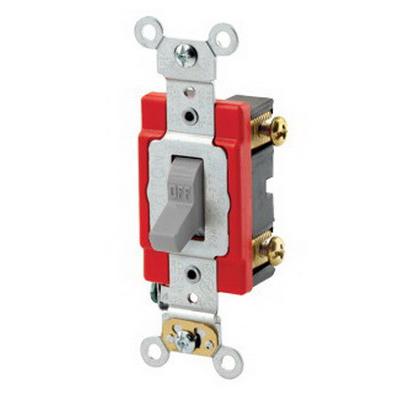 Leviton 1222-2GY Extra Heavy Duty Grade AC Quiet Toggle Switch; 2-Pole, 120/277 Volt AC, 20 Amp, Gray