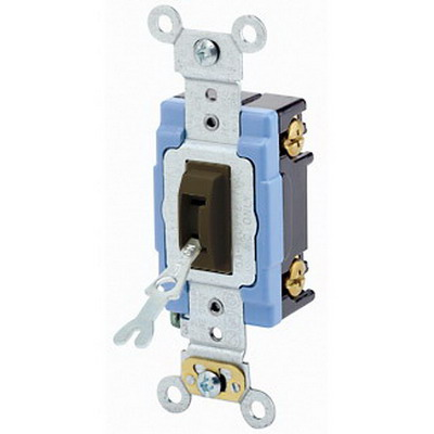 Leviton 1201-2L Extra Heavy Duty Grade AC Quiet Keyed Locking Toggle Switch; 1-Pole, 120/277 Volt AC, 15 Amp, Brown