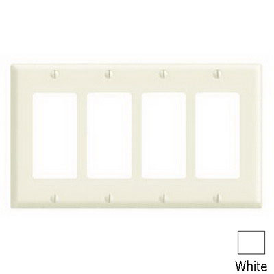 Leviton 80412-NW Decora® 4-Gang Standard-Size GFCI Decorator Wallplate; Device Mount, Thermoplastic Nylon, White