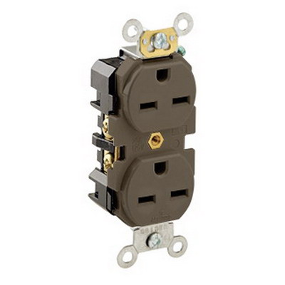 Leviton 5662 Double Pole Straight Blade Duplex Receptacle; Wall Mount, 250 Volt, 15 Amp, Brown