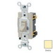 Leviton 54523-2I Specfication Grade AC Quiet 3-Way Framed Toggle Switch; 1-Pole, 120/277 Volt AC, 20 Amp, Ivory