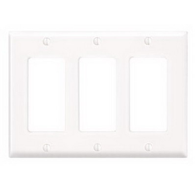Leviton 80411-NW Decora® 3-Gang Standard-Size GFCI Decorator Wallplate; Device Mount, Thermoplastic Nylon, White