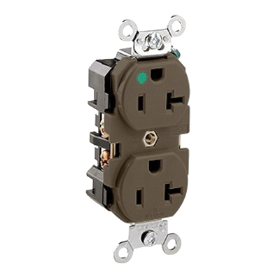 Leviton 8300-H Double Pole Straight Blade Heavy Duty Duplex Receptacle; Wall Mount, 125 Volt, 20 Amp, Brown