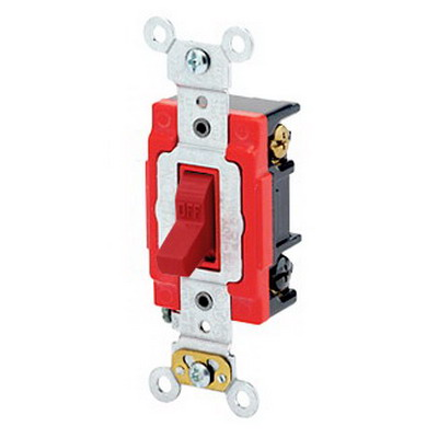 Leviton 1223-2R Extra Heavy Duty Grade Key Locking AC Quiet 3-Way Toggle Switch; 1-Pole, 120/277 Volt AC, 20 Amp, Red