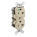 Leviton 8300-HI Double Pole Straight Blade Heavy Duty Duplex Receptacle; Wall Mount, 125 Volt, 20 Amp, Ivory