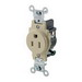 Leviton 5088-I Double Pole Straight Blade Single Receptacle; Wall Mount, 125 Volt, 15 Amp, Ivory