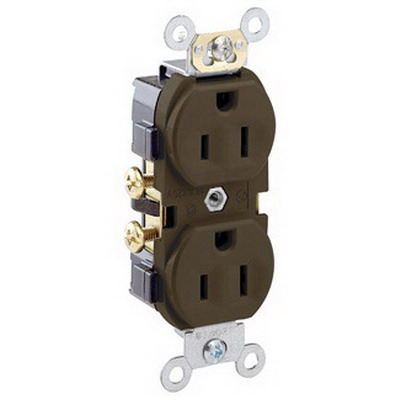 Leviton CR15 Double Pole Straight Blade Duplex Receptacle; Wall Mount, 125 Volt, 15 Amp, Brown
