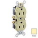 Leviton CR15-I Double Pole Straight Blade Duplex Receptacle; Wall Mount, 125 Volt, 15 Amp, Ivory
