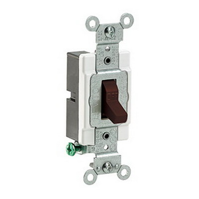 Leviton CS120-2 Specfication Grade AC Quiet Toggle Switch; 1-Pole, 120/277 Volt AC, 20 Amp, Brown