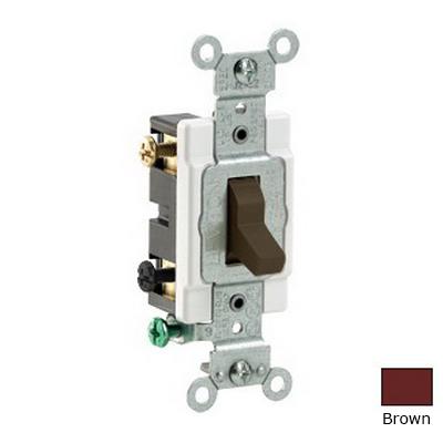 Leviton CS220-2 Specification Grade AC Quiet Toggle Switch; 2-Pole, 120/277 Volt AC, 20 Amp, Brown