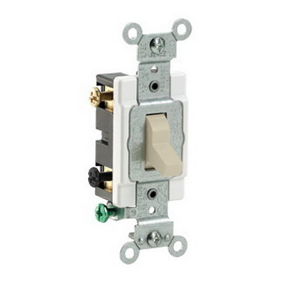 Leviton CS220-2I Specification Grade AC Quiet Toggle Switch; 2-Pole, 120/277 Volt AC, 20 Amp, Ivory