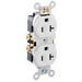 Leviton CR20-W Double Pole Straight Blade Duplex Receptacle; Wall Mount, 125 Volt, 20 Amp, White
