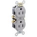 Leviton CR15-GY Double Pole Straight Blade Duplex Receptacle; Wall Mount, 125 Volt, 15 Amp, Gray