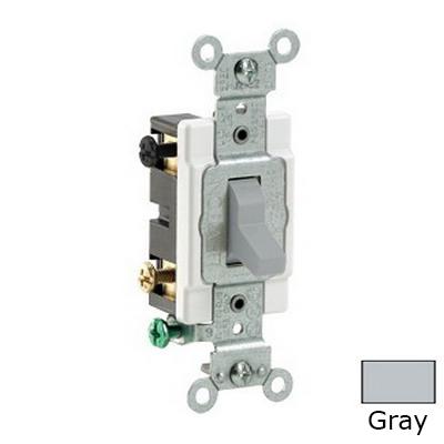 Leviton CS420-2GY Specfication Grade AC Quiet 4-Way Toggle Switch; 2-Pole, 120/277 Volt AC, 20 Amp, Gray