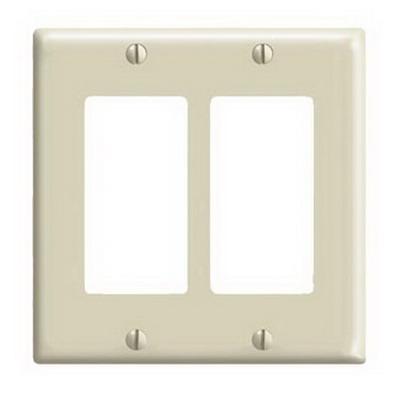Leviton 80409-NI Decora® 2-Gang Standard-Size GFCI Decorator Wallplate; Device Mount, Thermoplastic Nylon, Ivory