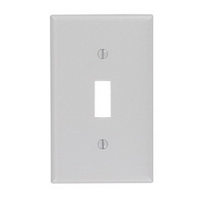 Leviton 87001 1-Gang Standard-Size Toggle Switch Wallplate; Device Mount, Thermoset Plastic, Gray