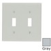 Leviton 87009 2-Gang Standard-Size Toggle Switch Wallplate; Device Mount, Thermoset Plastic, Gray
