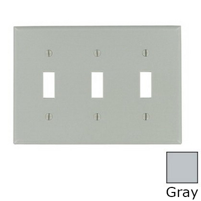 Leviton 87011 3-Gang Standard-Size Toggle Switch Wallplate; Device Mount, Thermoset Plastic, Gray