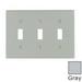 Leviton 87011 3-Gang Standard-Size Toggle Switch Wallplate; Device Mount, Thermoset Plastic, Gray