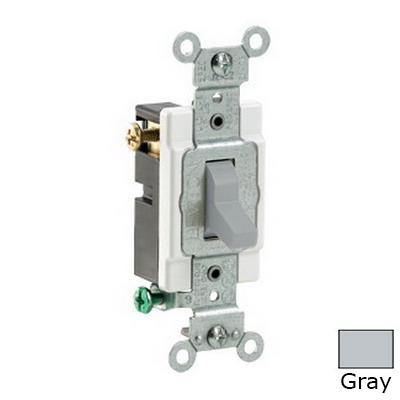 Leviton CS320-2GY Specification Grade AC Quiet 3-Way Toggle Switch; 1-Pole, 120/277 Volt AC, 20 Amp, Gray