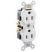 Leviton CR15-W Double Pole Straight Blade Duplex Receptacle; Wall Mount, 125 Volt, 15 Amp, White