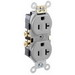 Leviton CR20-GY Double Pole Straight Blade Duplex Receptacle; Wall Mount, 125 Volt, 20 Amp, Gray