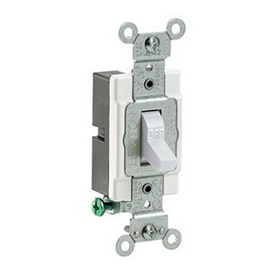 Leviton CS120-2W Specfication Grade AC Quiet Toggle Switch; 1-Pole, 120/277 Volt AC, 20 Amp, White