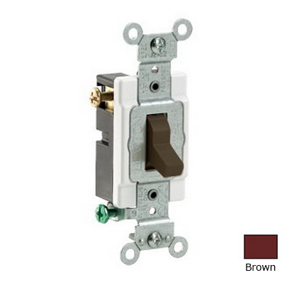 Leviton CS320-2 Specification Grade AC Quiet 3-Way Toggle Switch; 1-Pole, 120/277 Volt AC, 20 Amp, Brown