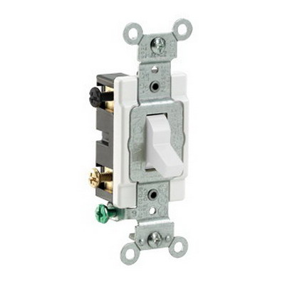 Leviton CS420-2W Specfication Grade AC Quiet 4-Way Toggle Switch; 2-Pole, 120/277 Volt AC, 20 Amp, White