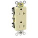 Leviton 16362-I Decora® Plus Double Pole Straight Blade Duplex Receptacle; Wall Mount, 125 Volt, 20 Amp, Ivory