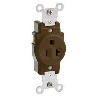 Leviton 5891 Double Pole Straight Blade Single Receptacle; Wall Mount, 125 Volt, 20 Amp, Brown
