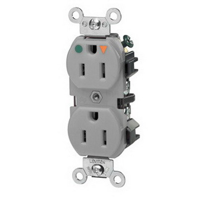 Leviton 5262-IGG Double Pole Isolated Ground Straight Blade Duplex Receptacle; Wall Mount, 125 Volt, 15 Amp, Gray