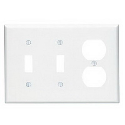 Leviton 80521-W 3-Gang Midway-Size Combination Wallplate; Device Mount, Thermoset Plastic, White