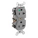 Leviton 8300-GY Double Pole Straight Blade Duplex Receptacle; Wall Mount, 125 Volt, 20 Amp, Gray