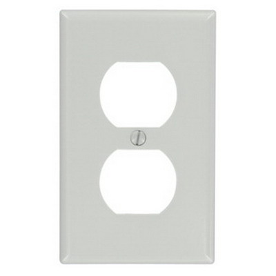 Leviton 87003 1-Gang Standard-Size Duplex Receptacle Wallplate; Device Mount, Thermoset Plastic, Gray