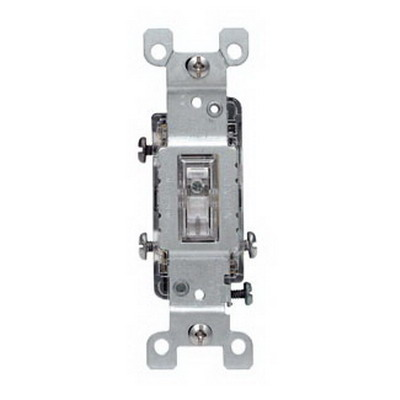 Leviton 1463-LHC Illuminated Off AC Quiet 3-Way Lighted Handle Toggle Switch; 120 Volt AC, 15 Amp, Clear