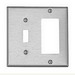 Leviton S126 Decora® 2-Gang Standard-Size Combination Wallplate; Device Mount, Stainless Steel, Silver