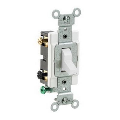 Leviton CS220-2W Specification Grade AC Quiet Toggle Switch; 2-Pole, 120/277 Volt AC, 20 Amp, White