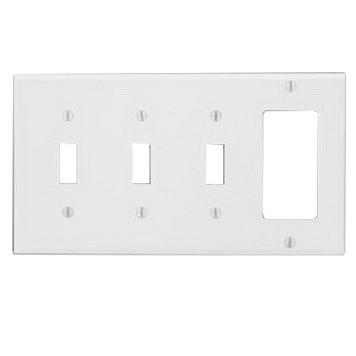 Leviton P326-W Decora® 4-Gang Standard-Size Combination Wallplate; Device Mount, Thermoset Plastic, White