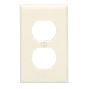 Leviton 82003 1-Gang Standard-Size Duplex Receptacle Wallplate; Device Mount, Plastic, Almond