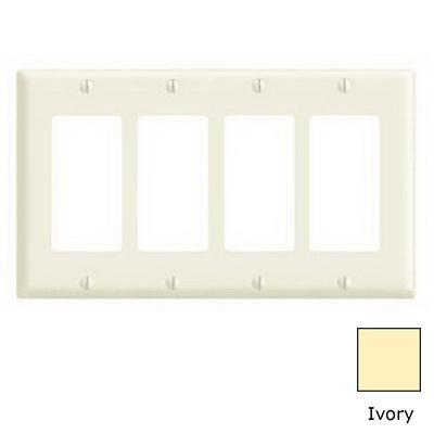 Leviton 80412-NI Decora® 4-Gang Standard-Size GFCI Decorator Wallplate; Device Mount, Thermoplastic Nylon, Ivory