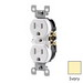Leviton T5320-I Tamper Resistant Double Pole Straight Blade Duplex Receptacle; Screw Mount, 125 Volt, 15 Amp, Ivory