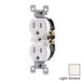 Leviton T5320-T Tamper Resistant Double Pole Straight Blade Duplex Receptacle; Screw Mount, 125 Volt, 15 Amp, Light Almond