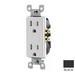 Leviton T5325-E Decora® Tamper Resistant Double Pole Straight Blade Duplex Receptacle; Wall Mount, 125 Volt, 15 Amp, Black