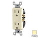 Leviton T5325-I Decora® Tamper Resistant Double Pole Straight Blade Duplex Receptacle; Wall Mount, 125 Volt, 15 Amp, Ivory