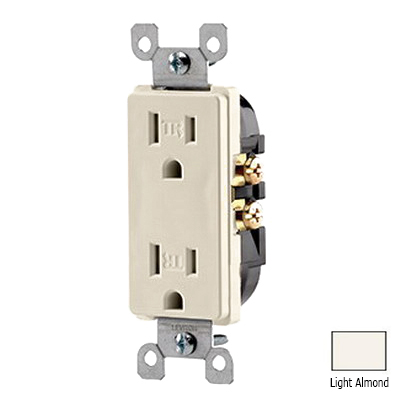 Leviton T5325-T Decora® Tamper Resistant Double Pole Straight Blade Duplex Receptacle; Wall Mount, 125 Volt, 15 Amp, Light Almond